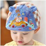หมวกแก็ปเด็ก สีฟ้า-น้ำตาล ลายกระต่ายขับรถ